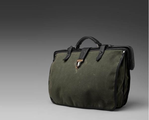 Krane Waxed cotton briefcase