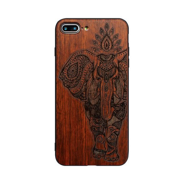 Elephant Ganesha Hand Carving  Bamboo Wood Phone Case Cover For Iphones - Kaptelli Store