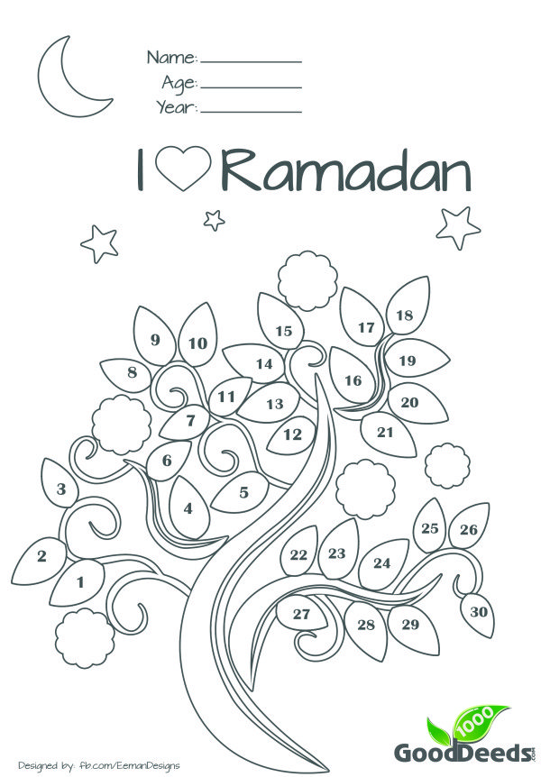 Ramadan fasting chart or countdown calender for children kids