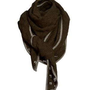 SUPERSOFT scarf, army. The seasons most beautiful and soft scarf. Knitted with a beautiful leaf pattern and glitter hem which makes it simple and exclusive. Shaped as a large triangle.  Made in sustainable wool from our Italian supplier.