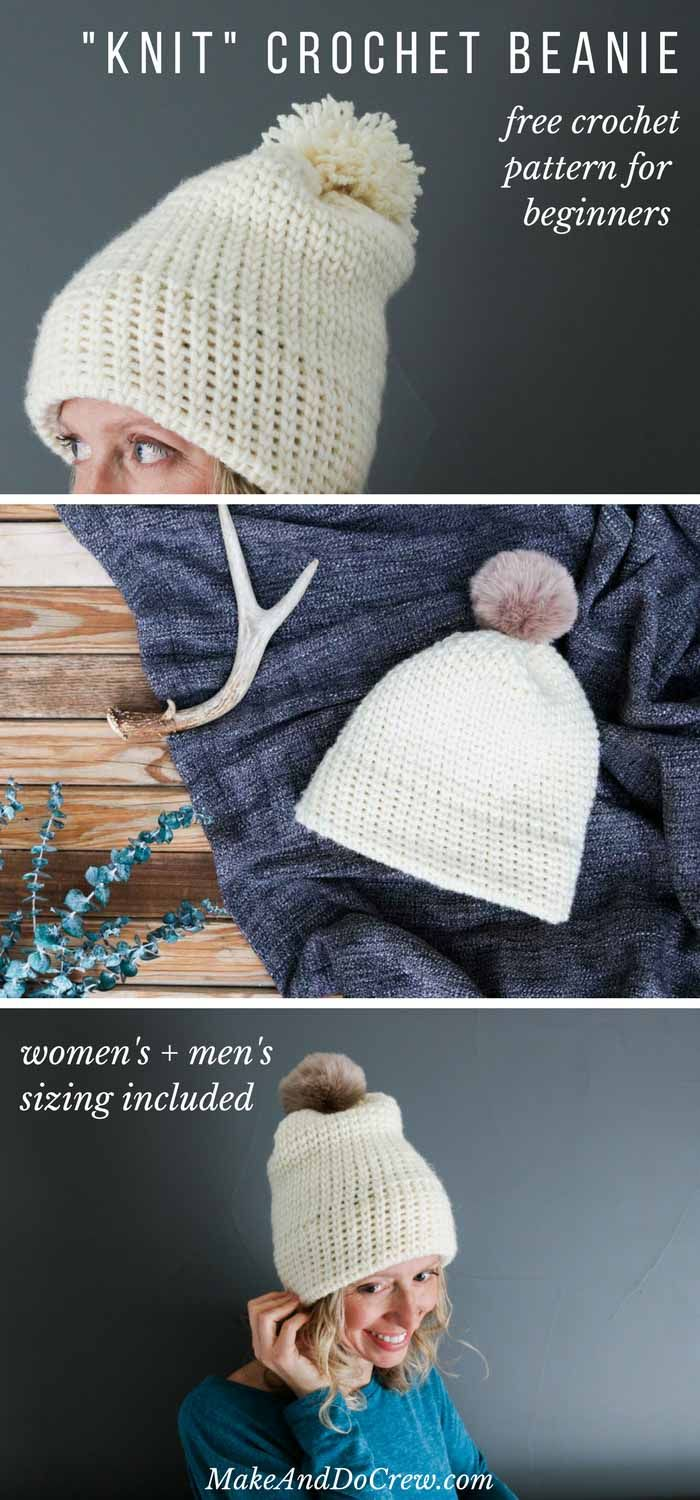 This double-brimmed crochet beanie looks knit, but it's not! This free crochet hat pattern for beginners uses only single crochet stitches (waistcoat) to create a modern hat that's a perfect crochet gift idea for men or women. Free pattern by Make & Do Crew featuring Woolspun yarn. via @makeanddocrew