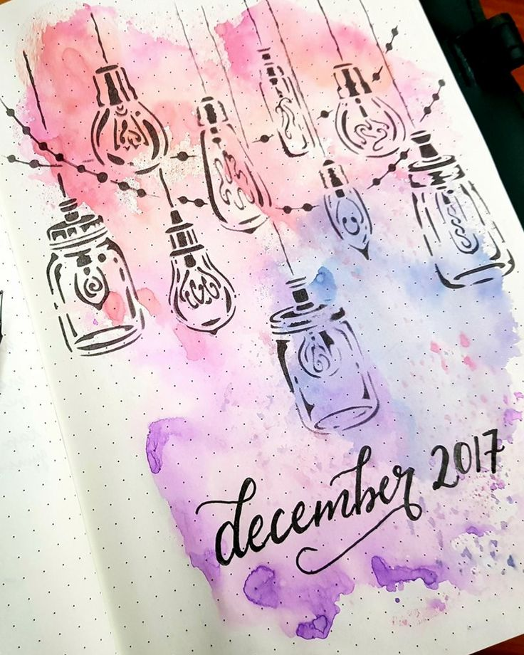 Water color welcome page with lightbulb doodles and Mason jars