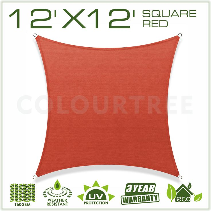 12' x 12' Sun Shade Sail Canopy Square Red - Commercial Standard Heavy Duty