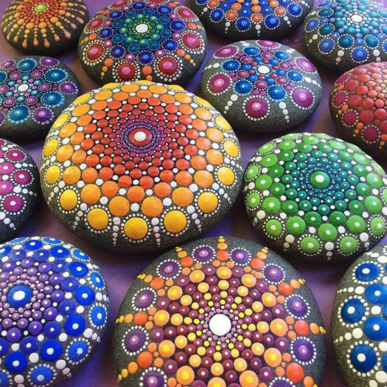 Artist Turns River Stones Into Meditative Mandalas With Endless Patterns Of Colorful Dots