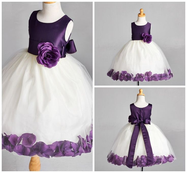 New Ivory Flower Girl Bridesmaids Summer Easter Pageant Top Solid Plum Dress 53 | eBay