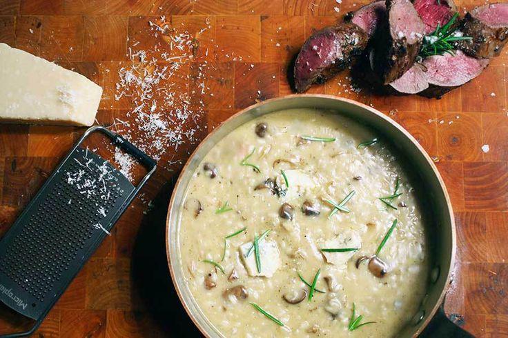 Vildt svin med blåskimmel-risotto