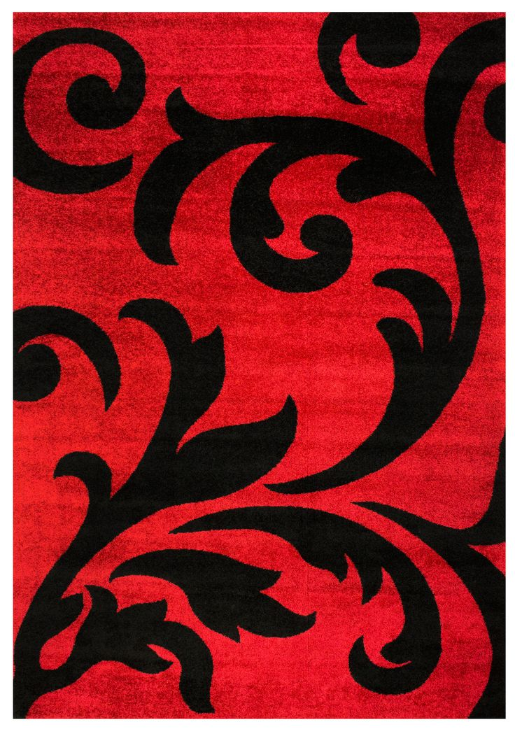 Metro Black & Red Floral Damask Rug