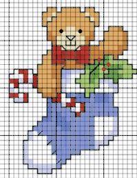 orsetto nella calza di Natale - punto croce - cross Stitch - Kreuzstich - Punto de Cruz