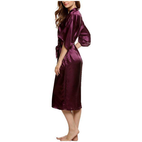 Women's Kimono Robe Dressing Gown Long Classic Satin Wedding Nightwear ($16) ❤ liked on Polyvore featuring intimates, robes, dark purple, lounge & sleepwear, long kimono, wedding kimono robes, satin kimono robe, long dressing gowns and kimono bath robe