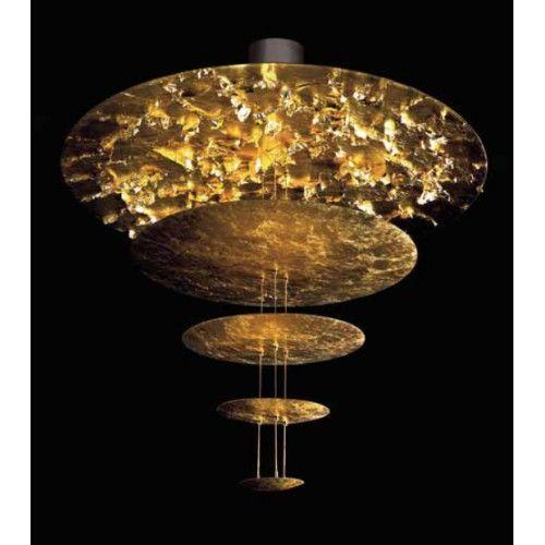 CATELLANI&SMITH - LAMPADA ASOSPENSIONE CON DISCHI DIFFUSORI IN FOGLIA ORO
