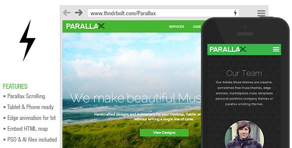 Parallax : Scrolling Muse Theme - Creative Muse Templates