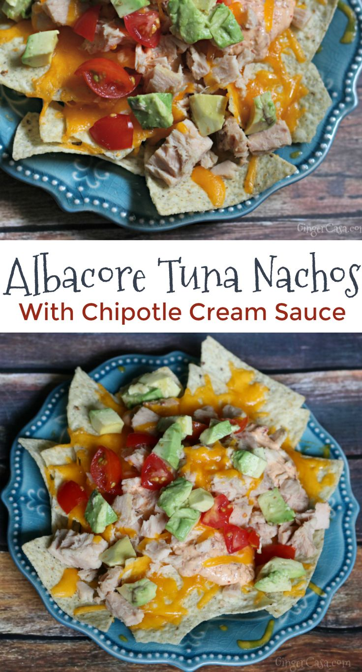 Jazz up your tuna with this delicious recipe for Cheesy Albacore Tuna Nachos with a spicy kick....chipotle cream sauce! It's easy! AD #WildSelections #EarthDay