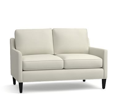 "Beverly Upholstered Loveseat 56"", Polyester Wrapped Cushions, Premium Performance Basketweave Pebble"