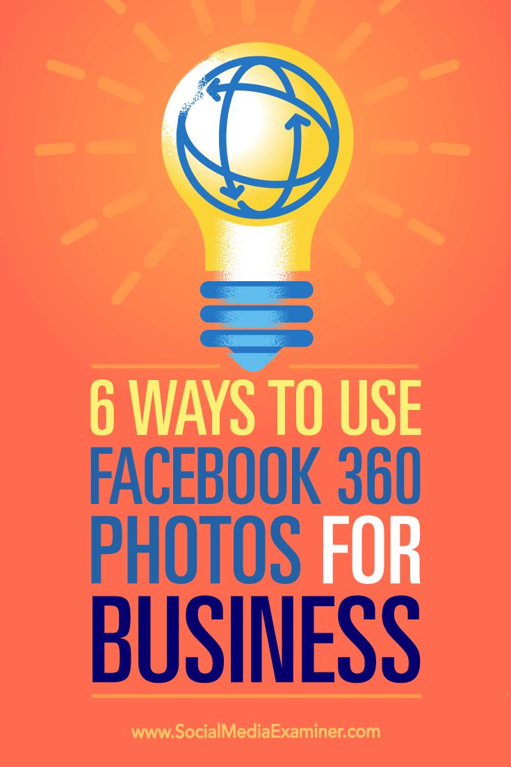 Have you heard of Facebook 360 photos?  Facebook 360 photos let you create an immersive 360-degree experience for fans on your Facebook page.  In this article, you'll discover six ways to use Facebook 360 photos for business. Via @smexaminer.