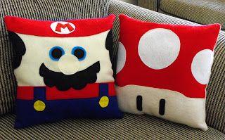 Mario Bros   almofadas   em feltro                                                                                                                                                                                 Mais