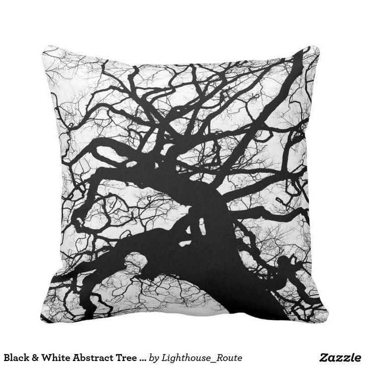 Black & White Abstract Tree Throw pillow