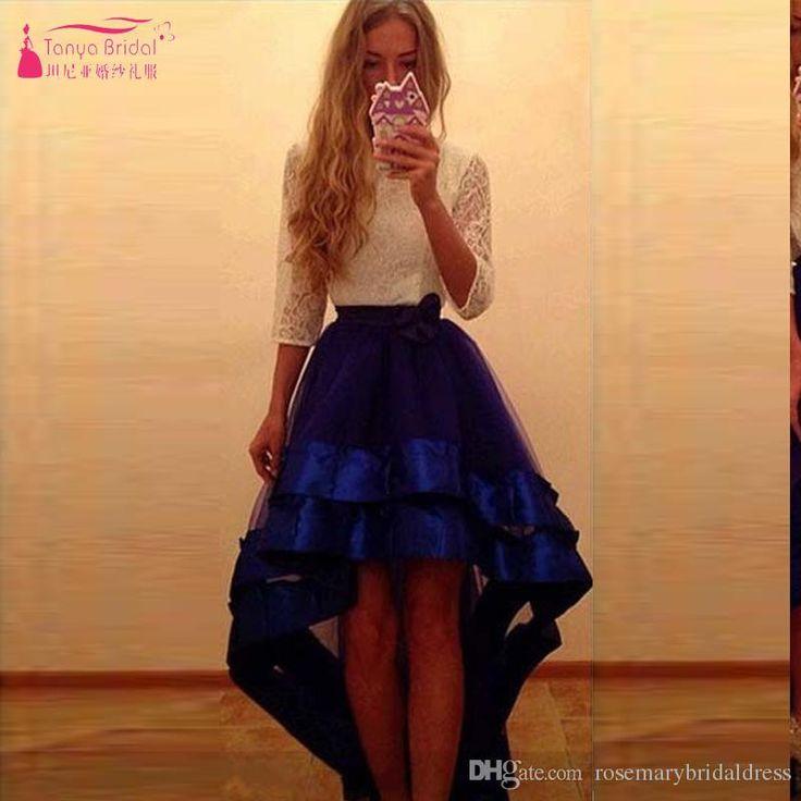 Half Sleeve White And Blue High Low Prom Dresses Lace Elegant Evening Dresses Short Front Long Back Vestidos De Festa Prom Dresses For Tall Girls Prom Dresses Wholesale From Rosemarybridaldress, $109.55| Dhgate.Com
