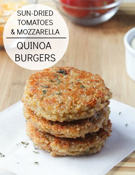 Sundried Tomato and Mozzarella Quinoa Burgers. the egg is a problem, use a substitute. an vegan cheese or no cheese, an lentils instead of flour.