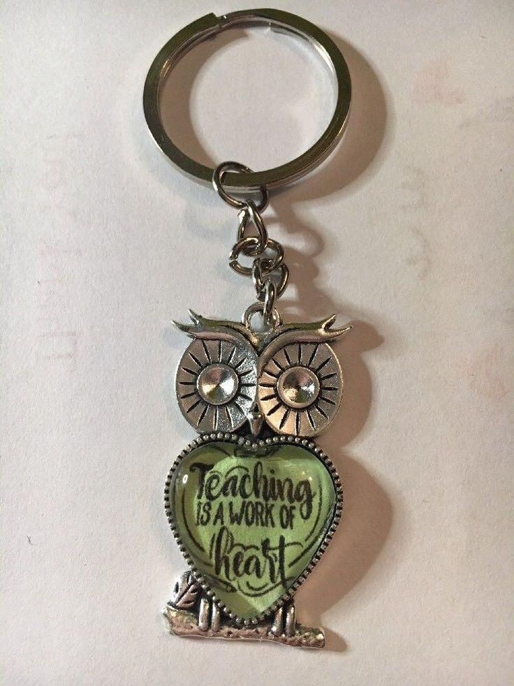 Owl Keyring Teaching Is A Work Of Heart Teacher Gift  | eBay