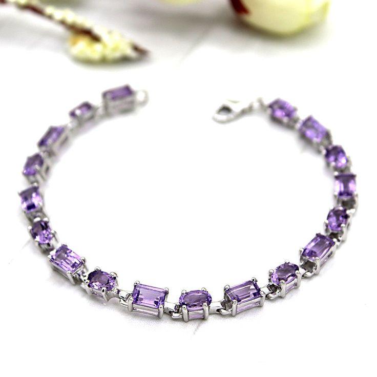 "Natural Amethyst Tennis Fine Bracelet 925 Sterling Silver Emerald Oval Shape 7"" #Archariel #Tennis #Bracelets"