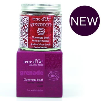 Natural Radiant Face Scrub for dull skin from the terre d'Oc India Skin Care range.  Follow the 15 minute ritual for a radiant complexion. Enjoy