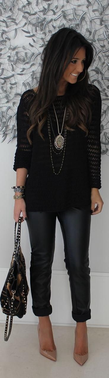 nude flats, necklace and bag dark wash skinny jeans and long textured black top