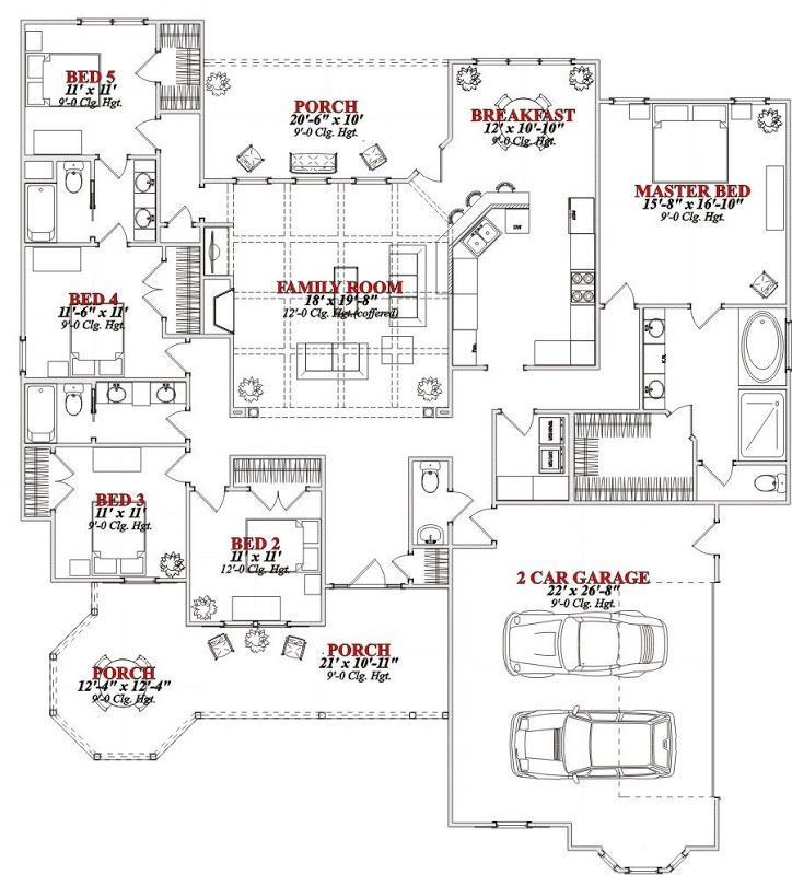 Best 25 5 bedroom house ideas on pinterest 5 bedroom for House plans 5 bedrooms 1 story