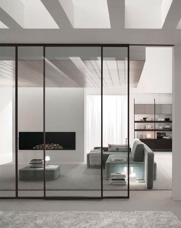 Glass and steel sliding doors