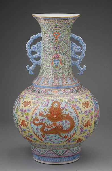 A Famille Rose Vase Qianlong Mark Republic Period