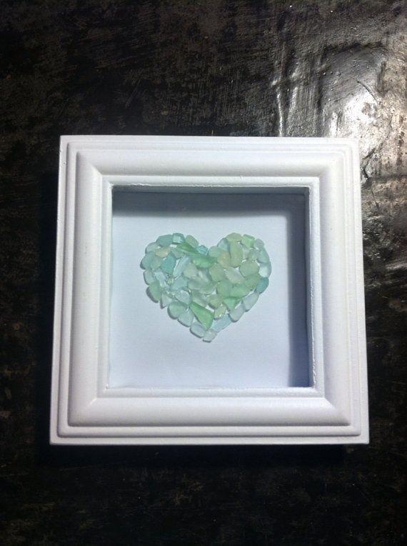 Heart Sea Glass Shadow Box by NaturalMaineMama on Etsy