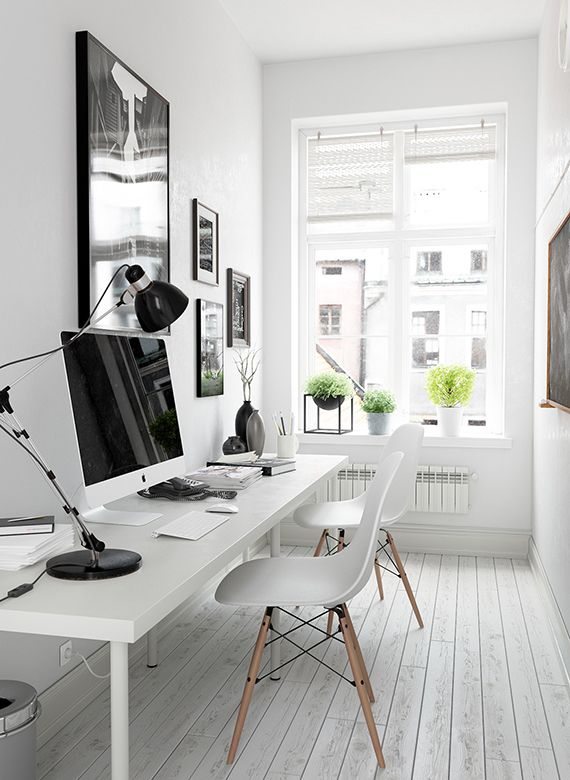 Small Home Offices Ideas Part - 18: Home Office Design Idea, Scandinavian Decorated Home Office, Small Office