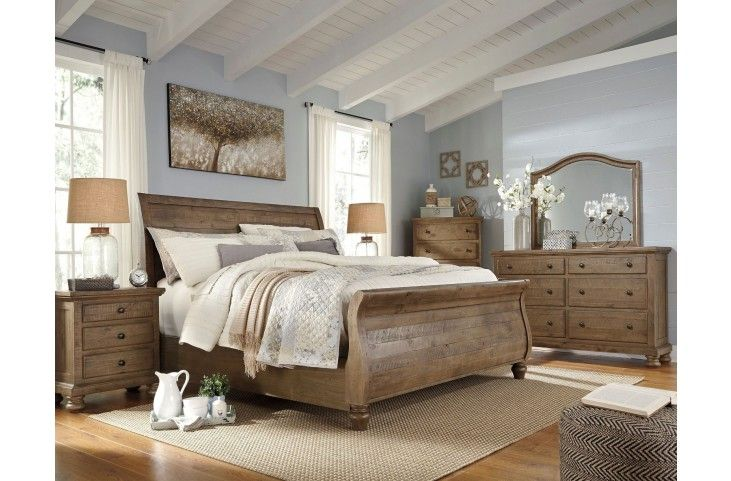 Trishley Light Brown Sleigh Bedroom Set from Ashley | Coleman Furniture