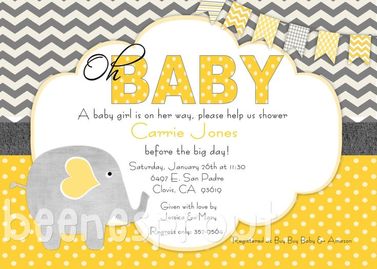 yellow and gray elephant baby shower invitation with fiesta baby shower nia