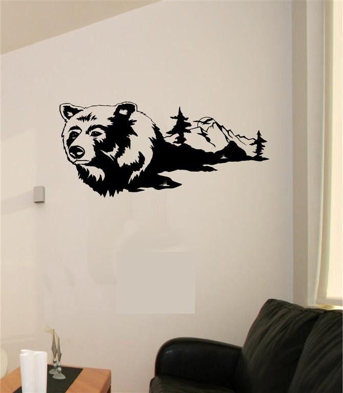Bear Mountains Scenery Vinyl Wall Sticker Decal Art Home Decor