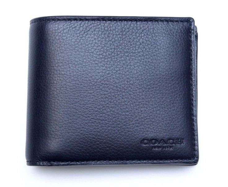 NWT Coach Men's $175 Compact ID Black Sport Calf Leather Billfold Wallet F74991