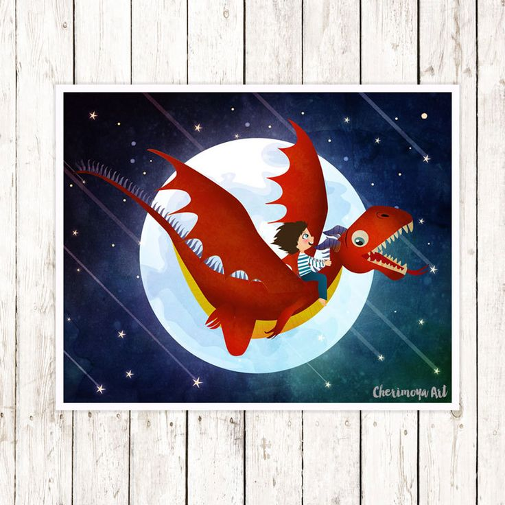 Dragon Art Print  Baby Boy Nursery Art Kids Wall Art  Boys Room Decor Gift for Boys Fantasy Nursery Art Dragon Wall Art Dragon Illustration by CherimoyaArt on Etsy $25.00