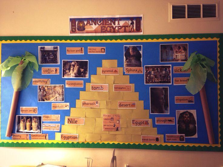 Egypt bulletin board display  Write hieroglyphic words to go on the pyramid building blocks