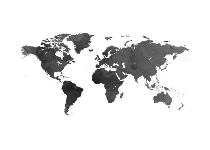 Poster, World Map Black