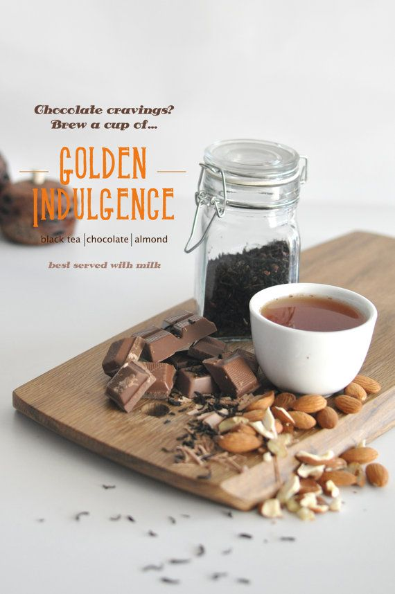 Golden Indulgence Flavored Black Tea; A sweet, hot chocolate substitute with nutty almond notes. Best enjoyed with raspberry , citrus or banana flavours. Try it with a banana cake or a raspberry mousse! By KettleTown on Etsy, $10.00