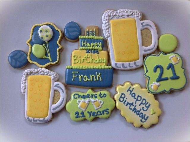 Cookie Cake Designs For 21st Birthday : 15 best images about Royal icing sugar cookie male ...