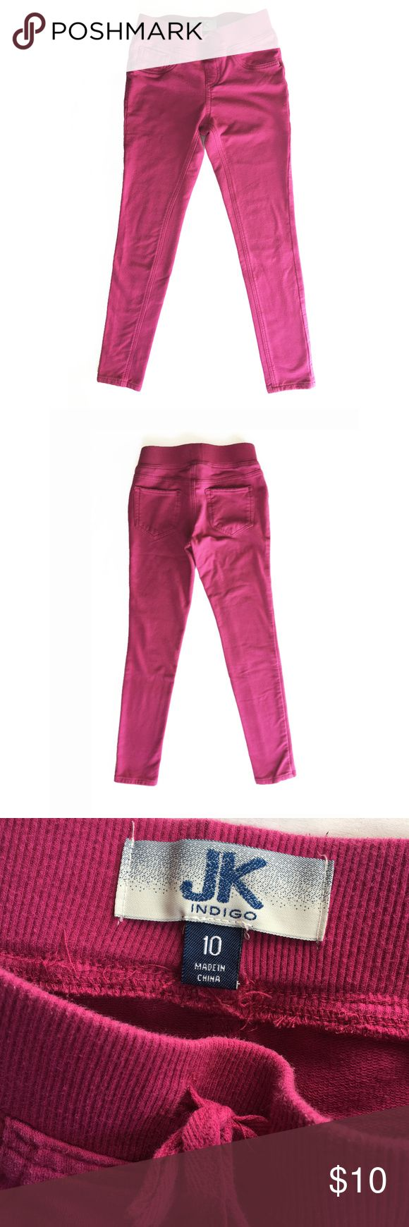 JK Indigo jeggings - soft legging - comfy These JK Indigo jeggins are so comfortable! Like wearing sweats, while still looking polished. The material is warm and soft - the pants don't feel like jeans, more like leggings, but heavier weight. These are used jeggings, with minor fading. Cute hot pink color! Faux pockets in the front, 2 patch pocket on the back side. JK Indigo Bottoms Jeans
