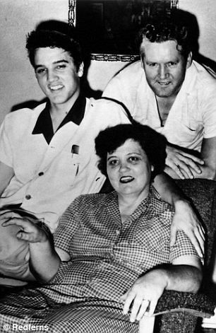 On the auction block: Elvis Presley was originally buried in this crypt (left) with his mother Gladys (right, seen with his father Vernon)