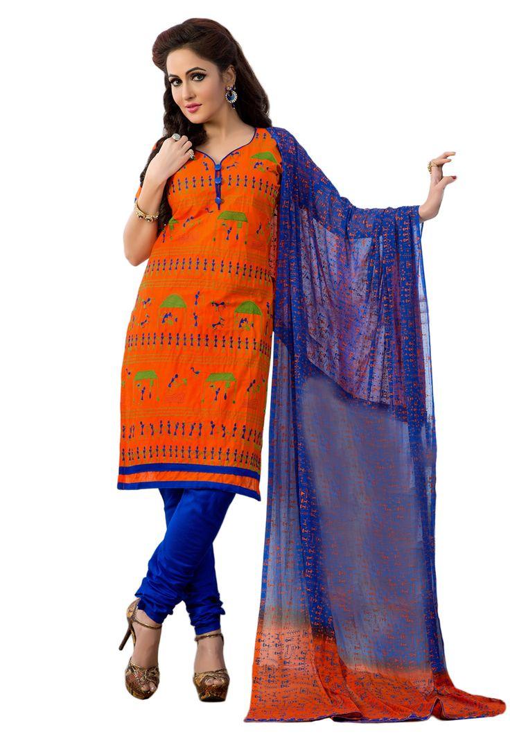 #Orange #Blue #Dresmaterail #Casualwear #Officewear #Occasionalwear buy at salwarstudio.com