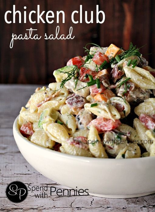 Chicken Club Pasta Salad! Chicken, bacon, avocado, cheddar... this pasta salad is loaded with the yummiest club toppings!