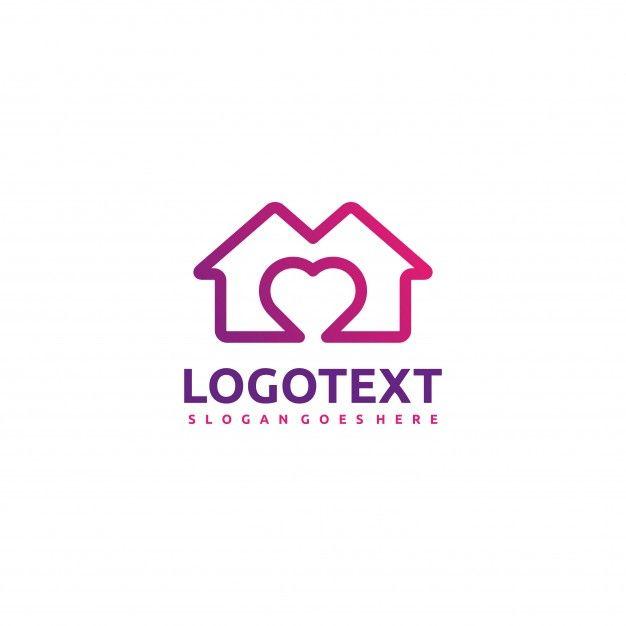 Логотип Дома и Любви Бесплатные векторы
