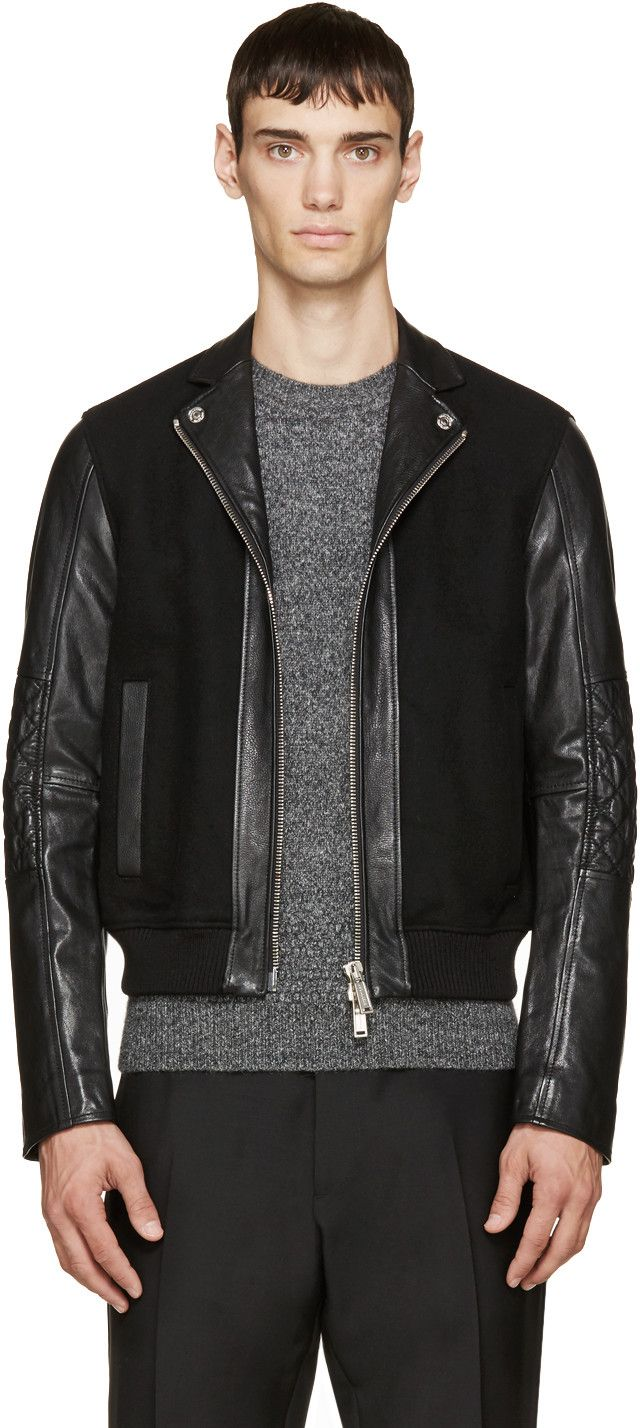 Dsquared2 Black Wool & Leather Bomber Jacket