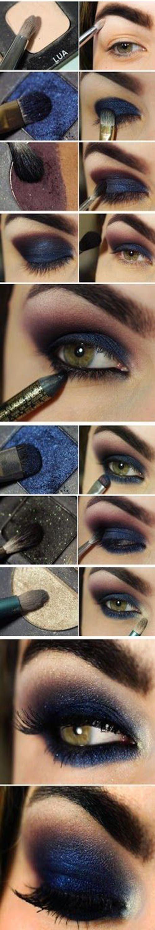 Sexy navy blue smoky eye makeup to dazzle the eve. #feminist #tattoo #womentriangle