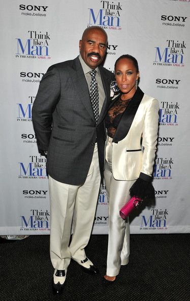 Steve Harvey's wife Margorie is beyond in this cream and black tuxedo style suit.  I know she's a woman of a certain age, and she's killing it all the same at the Think Like A Man Premier. Work!