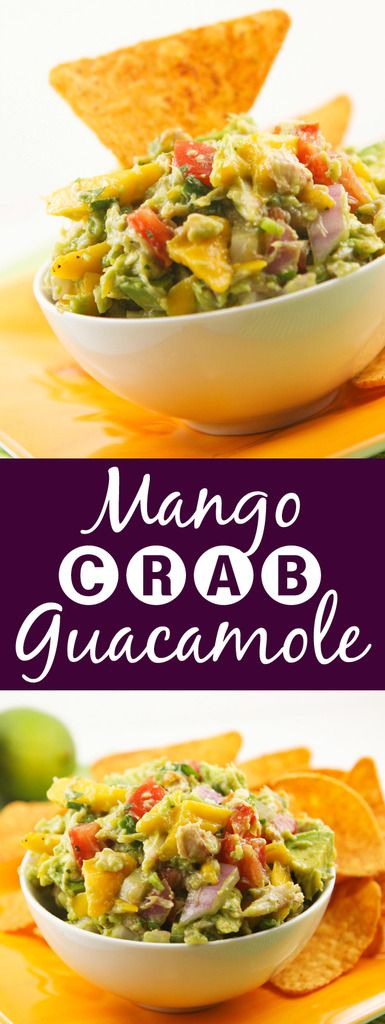 Mango Crab Guacamole | This is such a fun twist on guac! It is the perfect summer appetizer.