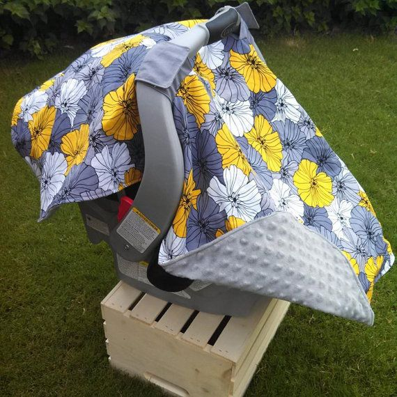 Infant Car Seat Canopy Grey Yellow Car Seat by kadydiddesigns, $42.50